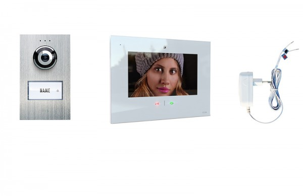 1-Fam.Haus Set mit IP-Innenstation (App) 7 Zoll, Bildspeicher, Touch & mp3