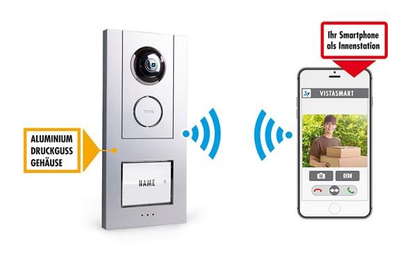 iP Video WLAN Türsprechstation ALUMINIUM für Smartphone, 1-Fam.-Haus