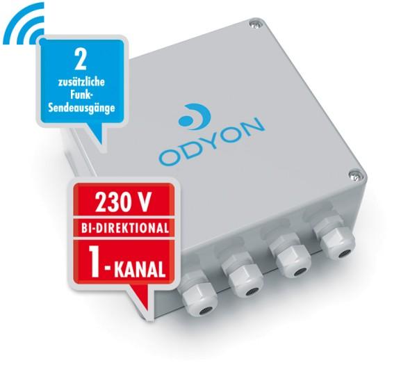 Wandempfänger 230V, bidirektional, 1-Kanal 2-Funkausgänge