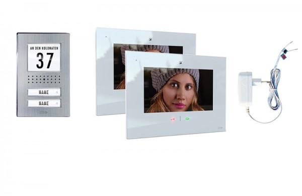 2-Fam.Haus Set mit IP-Innenstation (App) 7 Zoll, Bildspeicher, Touch & mp3