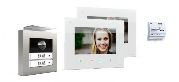 2-Fam.Haus Set RFID, ALU Außenstation Farbe silber oder anthrazit & Touch-Innnenstation