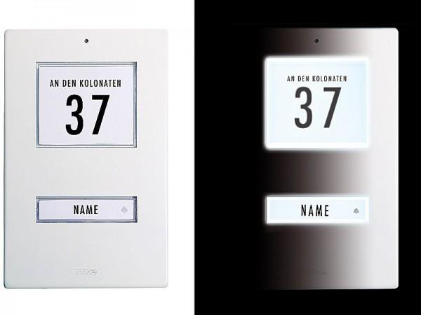 Klingeltaster für 1- und 3-Familienh. Aluminium weiss (AP)
