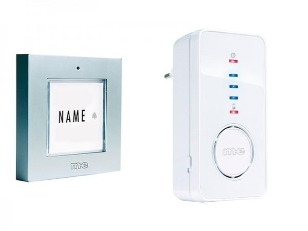 Funk-Türglockenset für 1, 2-Fam.-Haus, Sender in Farbe silber oder anthrazit