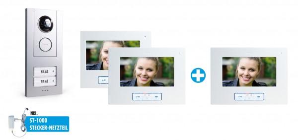 """Video-Türsprechanlage-Set 7"""" für 2-Familienhaus mit 3x Innenstation"""