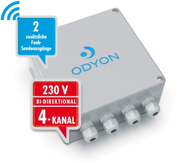 Wandempfänger 230V, bidirektional, 4-Kanal 2-Funkausgänge