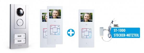 """Video-Türsprechanlage-Set 3,5"""" für 2-Familienhaus mit 3x Innenstation"""