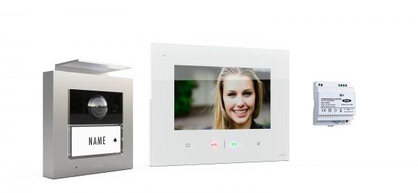 1-Fam.Haus Set RFID, ALU Außenstation Farbe silber oder anthrazit & Touch-Innenstation